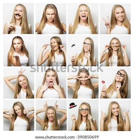 collage of woman different facial expressions #390850699