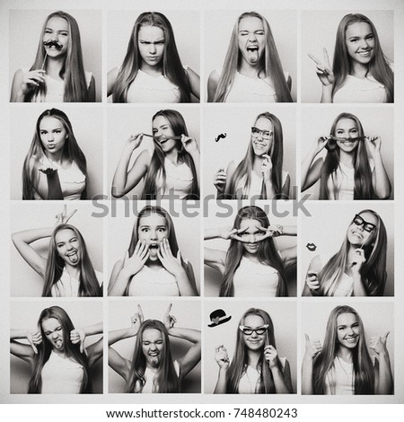 Collage of woman different facial expressions. Black and white picture. #748480243
