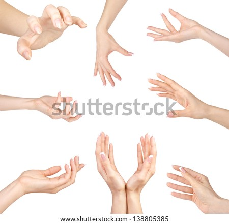 Collage of woman Hands gestures set, on white background.