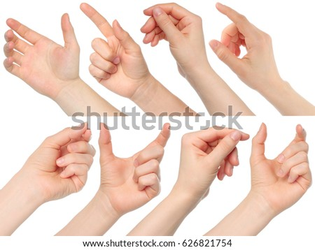 Collage of woman hands on white background.