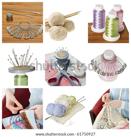 Collage of woman hobbies - patchwork and knitting