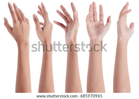 Collage of woman holding on white backgrounds