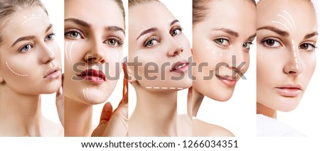 Collage of woman's faces with lifting arrows. Over white backgroud. #1266034351