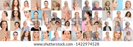 Collage of women with beautiful faces against color background