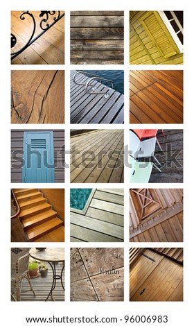 Collage of wood for flooring and building