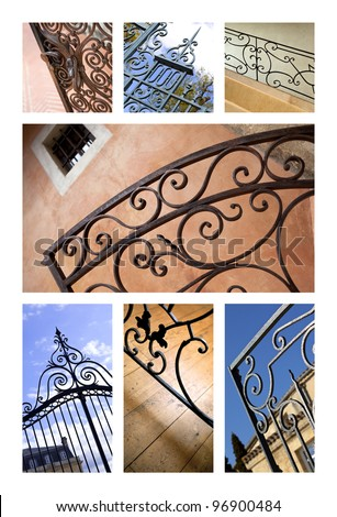 Collage of wrought iron