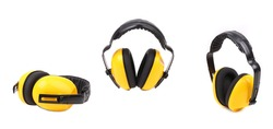 Collage of yellow ear muffs. Isolated on a white background.