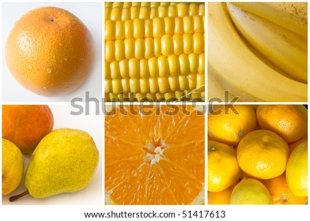 collage of yellow fruit and vegetables