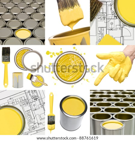 Collage of Yellow painting objects #88761619