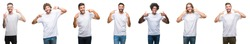Collage of young caucasian, hispanic, afro men wearing white t-shirt over white isolated background smiling confident showing and pointing with fingers teeth and mouth. Health concept.
