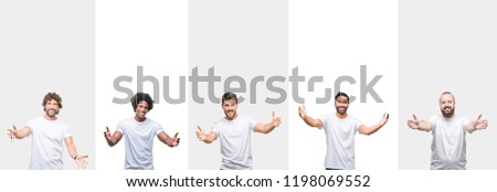 Collage of young caucasian, hispanic, afro men wearing white t-shirt over white isolated background looking at the camera smiling with open arms for hug. Cheerful expression embracing happiness.
