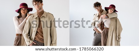 collage of young couple posing in fashionable autumn clothes on grey, horizontal image