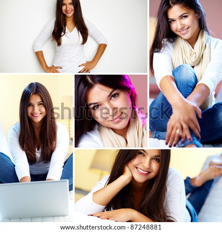 Collage of young girl posing in front of camera
