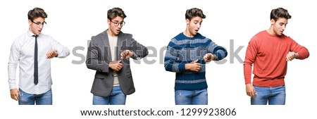 Collage of young handsome business man over isolated background Looking at the watch time worried, afraid of getting late Stockfoto ©