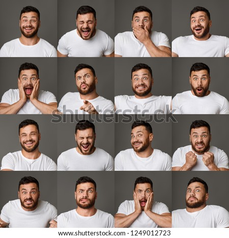 Collage of young man expressing different positive and negative emotions #1249012723