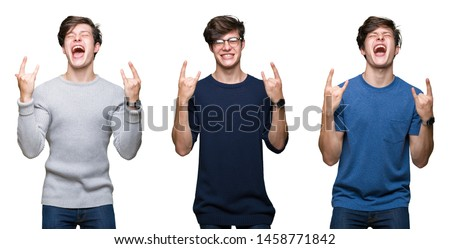 Collage of young man over white isolated background shouting with crazy expression doing rock symbol with hands up. Music star. Heavy concept.