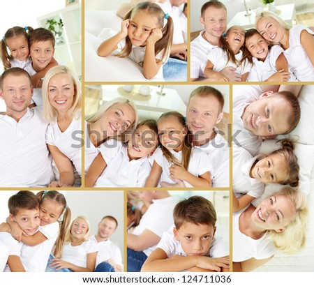 Collage of young parents with two children looking at camera at home