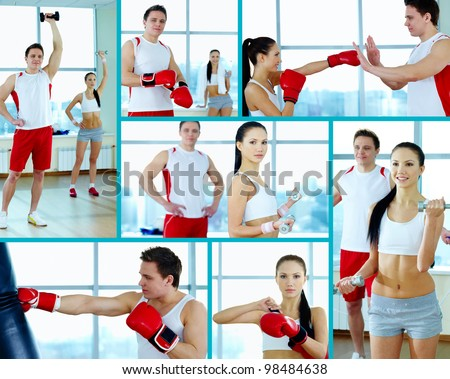 Collage of young people doing physical exercises and practicing boxing