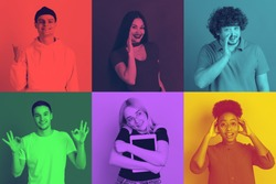Collage of young people with bright facial expression on multicolored background. Trendy, modern duotone effect. Concept of human emotions. Copyspace for ad. People in halftones. Pop style.