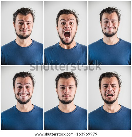 collage of young stylish man expressions on white background #163969979