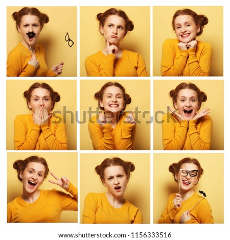 collage of young  woman different facial expressions #1156333516