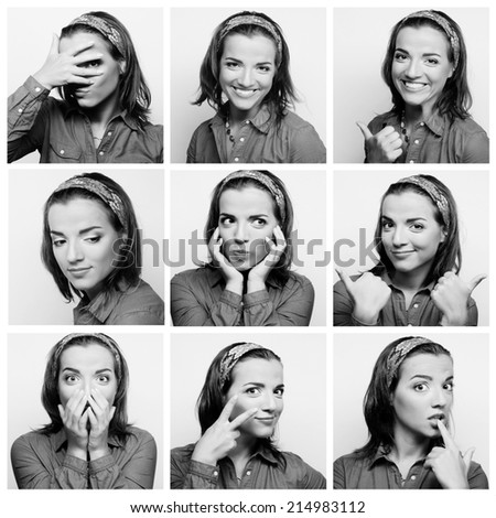 Collage of young woman face expressions composite #214983112