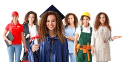 Collage of young woman in bachelor robe and uniforms of different professions on white background. Concept of profession selection