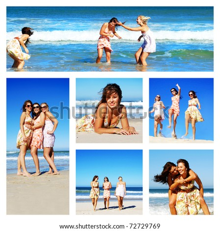 Collage of young woman on the beach