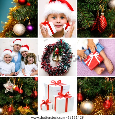 collage on the theme of Christmas: Christmas, family, kids, gifts, tree