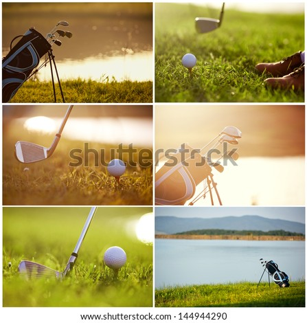 collage on the theme of golf - clubs, ball, tee, bag, grass
