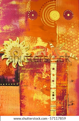 collage painting with palm tree and sun, artwork is created and painted by myself - stock photo