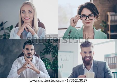 Collage photo computer webcam screen full frame view business young group listen reports talking skype call online meeting visual virtual analyzing quarantine marketing increase finance budget Photo stock ©