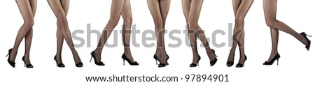 Collage photo of beautiful woman's legs; young woman posing: closeup of female legs isolated over white background