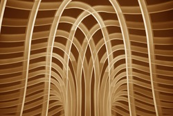 Collage photo of curved timber. Abstract architecture and interior design. Geometric pattern of parallel lines.