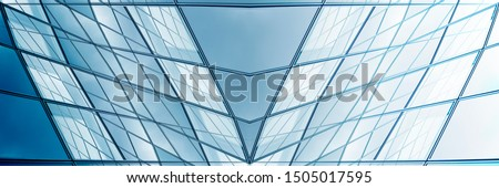 Collage photo of framed hi-tech glass structures. Transparent wall, roof or ceiling fragments with metal framework. Structural glazing. Abstract modern architecture, interior or technology background. #1505017595