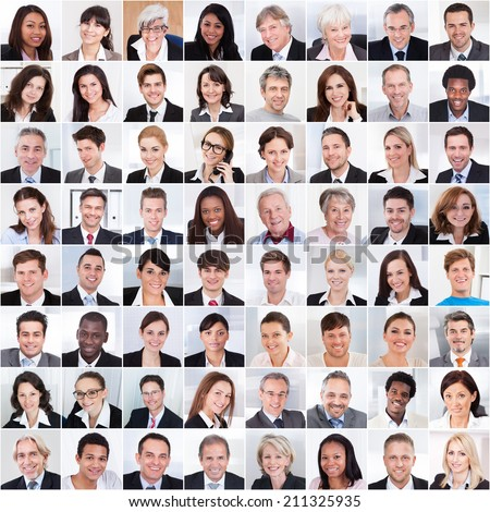 Collage photo of multiethnic business people smiling