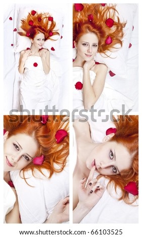 Collage photos of beautiful red-haired girl in bed with rose petal. Studio shot.