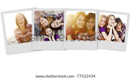 Collage photos of teens at summer vacation.