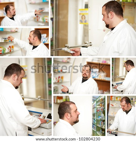 Collage. Portrait of a male pharmacist at pharmacy
