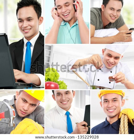 collage portrait of active man of his profession