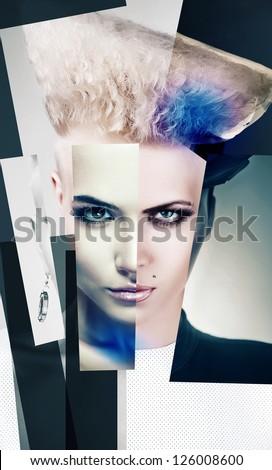 collage portrait of agressive punk blond woman