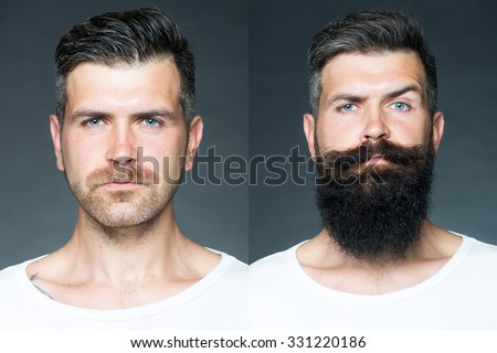 Collage portrait of one handsome man on left  bristle haired on right unshaven with long beard and moustache looking forward on grey background, horizontal picture