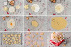 Collage preparing of heart-shaped cookies with pink chocolate glaze for Valentine's Day. Recipe step by step. Horizontal, top view
