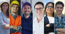Collage professions, gardener, builder, auto mechanic, doctor, business woman and farmer.