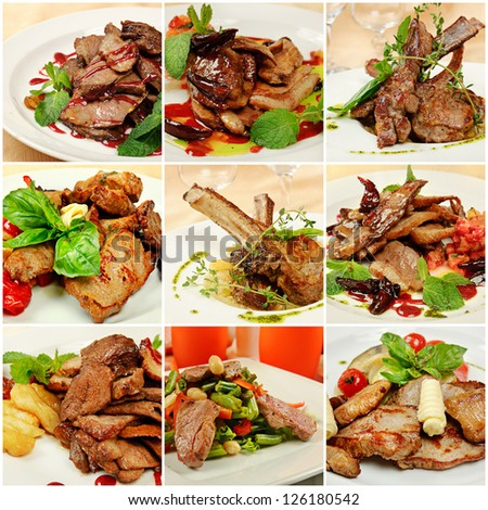 Collage (set) from various kinds of restaurant meat  menu dishes
