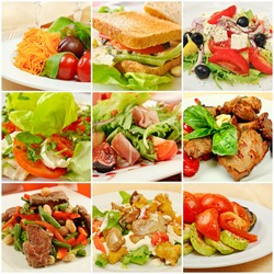 Collage (set) from various kinds of restaurant menu dishes