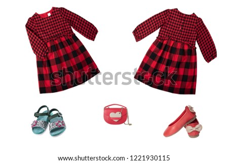 905dafcc80ea Collage set of children clothes. Red checkered dress and shoes for spring  and summer isolated
