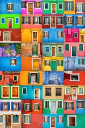 Collage set of 36 horizontal colorful windows and doors in picturesque island of Burano; Italy.