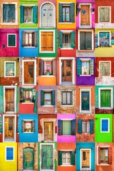 Collage set of 36 vertical colorful windows and doors in picturesque island of Burano; Italy.