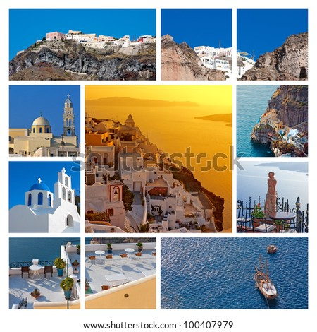 Collage (set)  View of Santorini island, Greece - stock photo